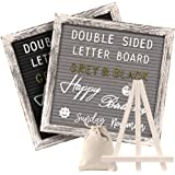 Tukuos Double Sided Felt Letter Board with Rustic Wood Frame,750 Precut Gold & White Letters,Months & Days & Script Cursive W