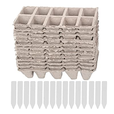 Gosear Seedling Pots, 10 Strips Square Peat Pots Plant Seedling Starters Cups Nursery Herb Seed Biodegradable Pots with 50pcs Label Maker Tags: Garden & Outdoor