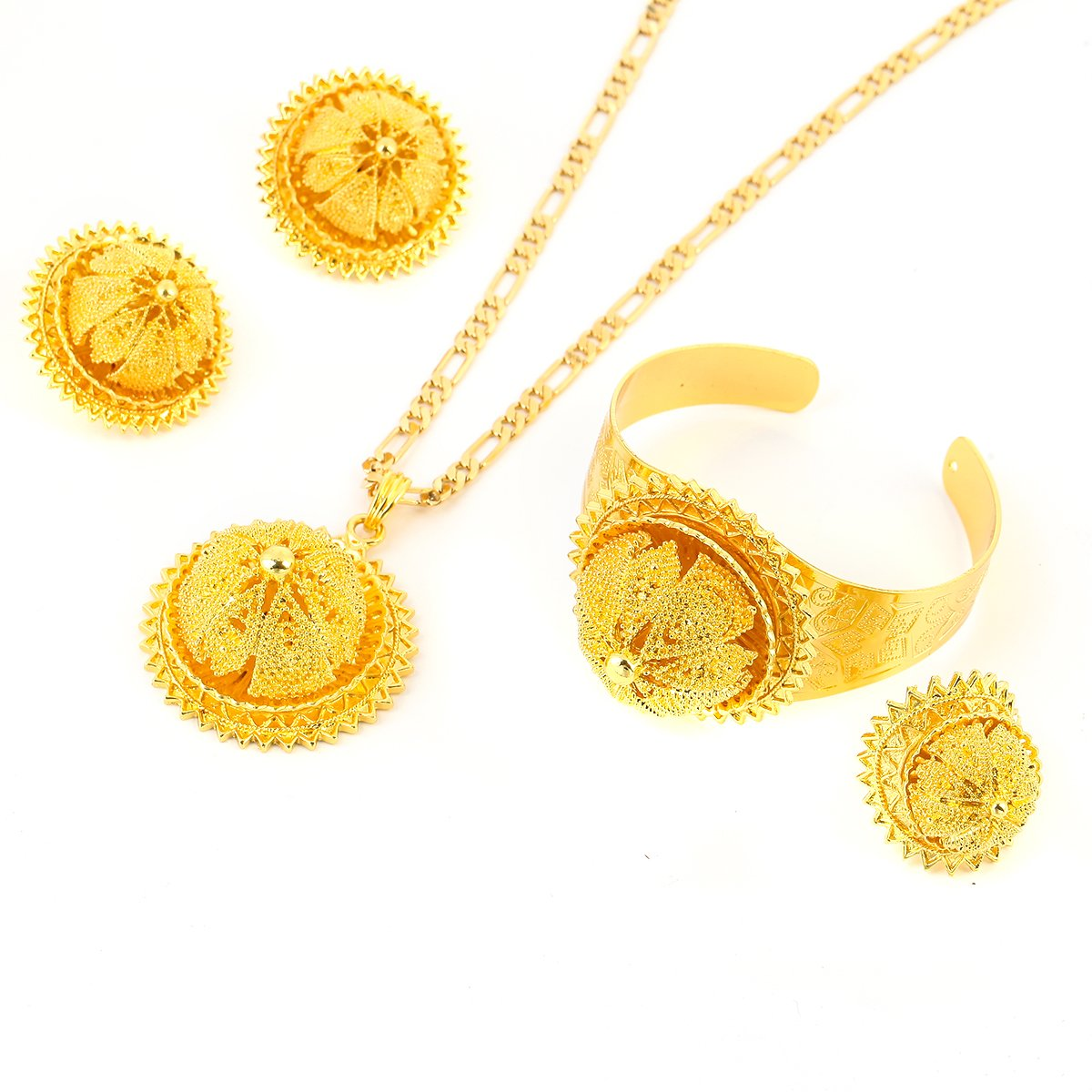 Ethiopian Bridal Jewelry Gold Plated And Silver Plated Wedding Jewellery Eritrea Nation Style Accessory (Gold Plated)