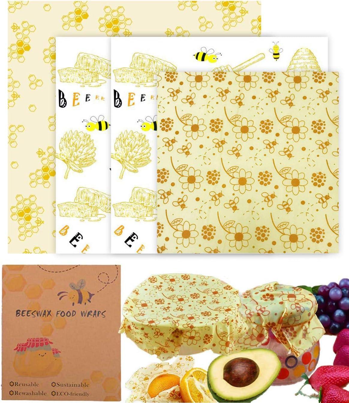 OrgaWise Beeswax Wrap Ecológicas y Lavable, Paquete de 4/6 Envoltorio Bocadillo Reutilizable Utilizado en Queso, Frutas, Verduras y Pan: Amazon.es: Hogar
