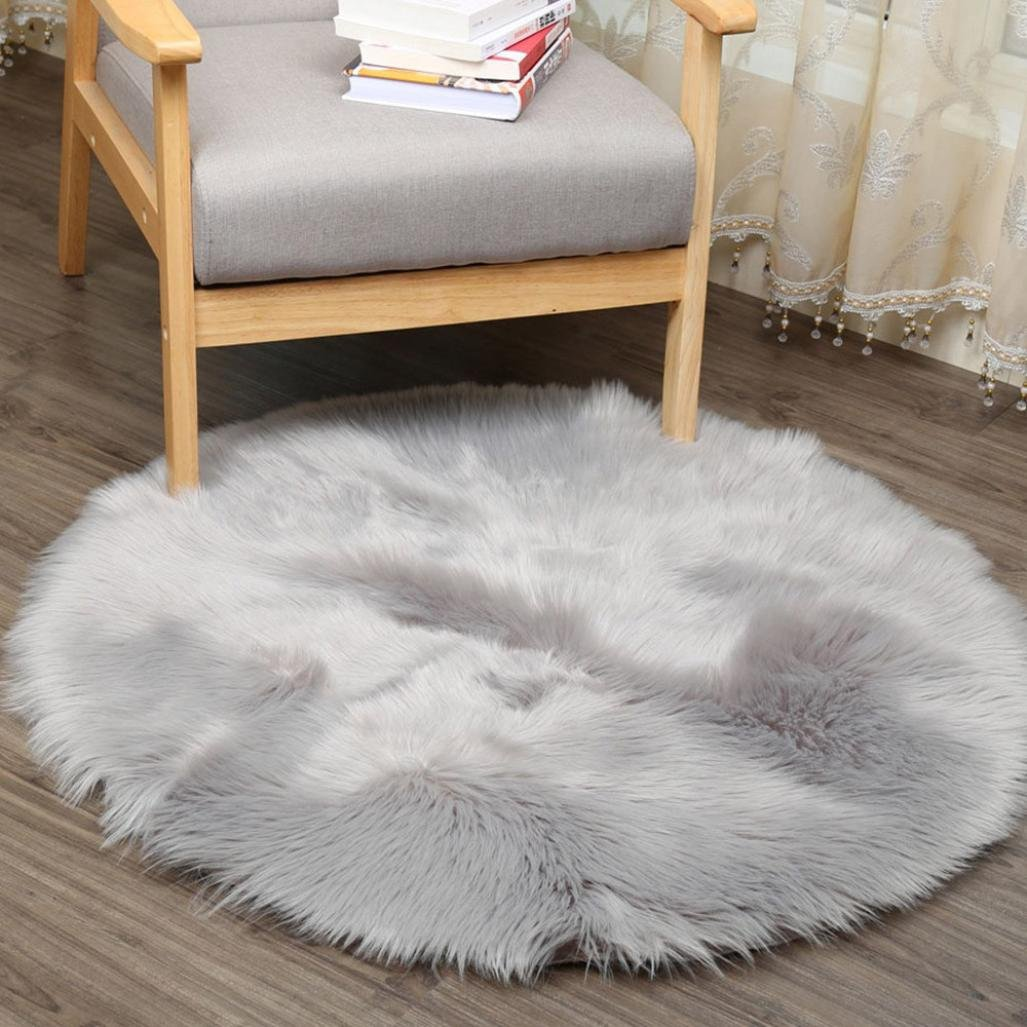 Cushion Pad Carpet, IGEMY Supersoft Plush Fluffy Chair Cover Artificial Sheepskin Rug Seat Cover Shaggy Throw Floor Mat Accent Rugs (White, 30*30CM)