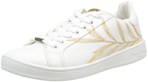Pepe Jeans London Brompton Embroidery, Zapatillas para Mujer, Blanco (White), 38 EU