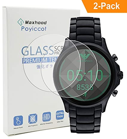 Poyiccot (2-Pack) Emporio Armani Full Display Smartwatch Tempered Glass Screen Protector,9H Premium Real Tempered Glass Screen Protector 2.5 D Round ...