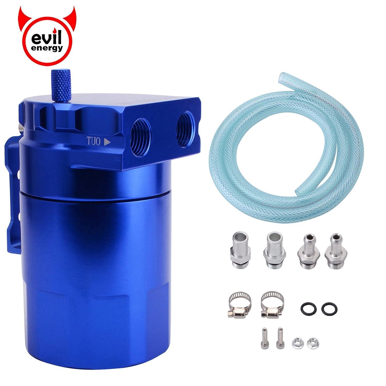EVIL ENERGY 00590RD Red Universal Aluminum Oil Catch Reservoir Tank Breather Filter Kit 280ml