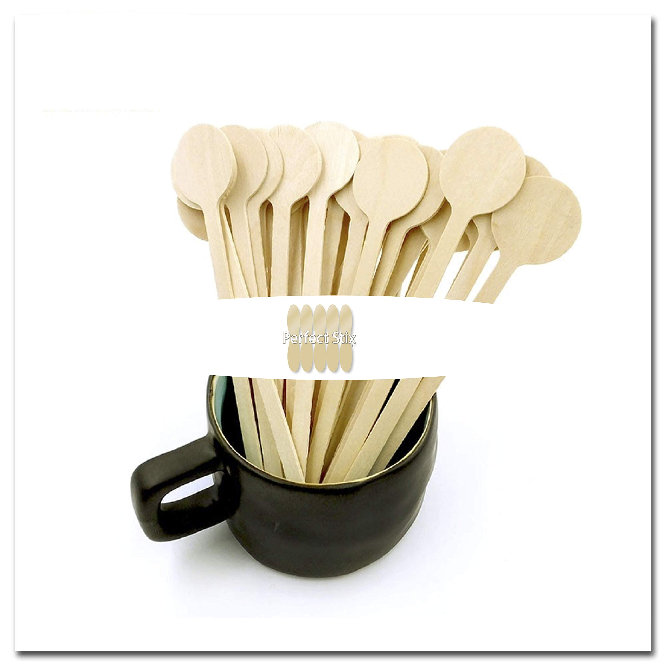 Perfect Stix Cocktail 6 Round -100ct Wooden Cocktail/Coffee Stirrers with Round Head, 6'' (Pack of 100)