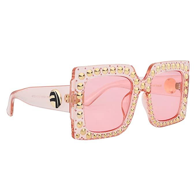 73c86f590c6a ROYAL GIRL Vintage Oversized Square Sunglasses Women Rivet Crystal-Trim  Designer Retro Shades (Pink