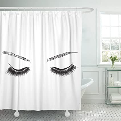 TOMPOP Shower Curtain Eyelash Long Eyelashes And Eyebrows Eyes Drawing Make Up Waterproof Polyester Fabric 72