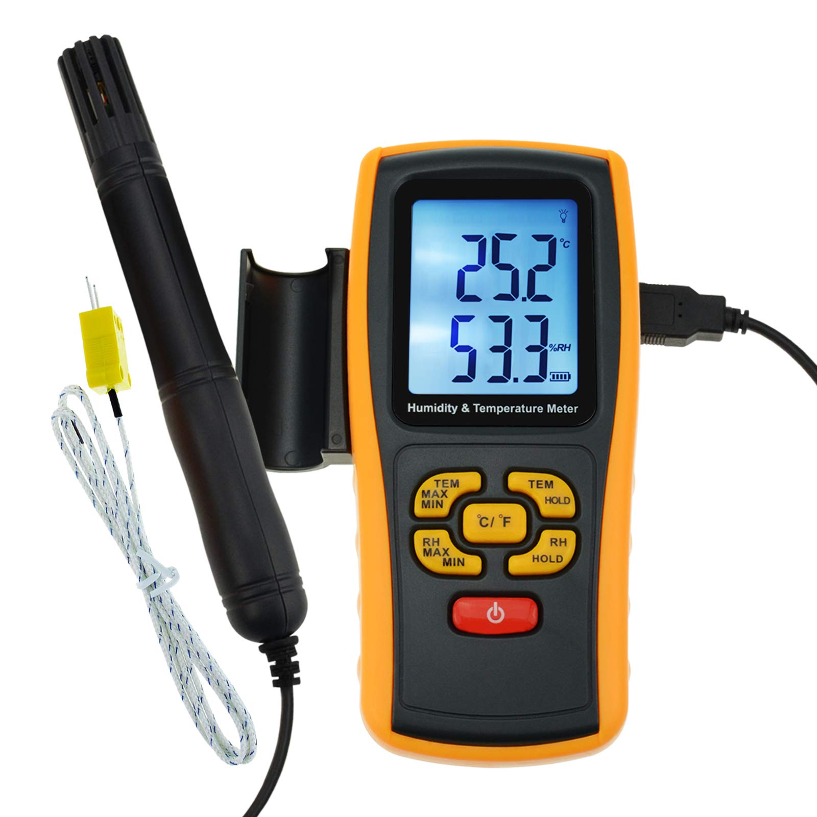 Instrument LCD Digital Humidity and Temperature Meter 2 in 1 Temperature Measurement, with Type K Thermocouple Sensor Probe