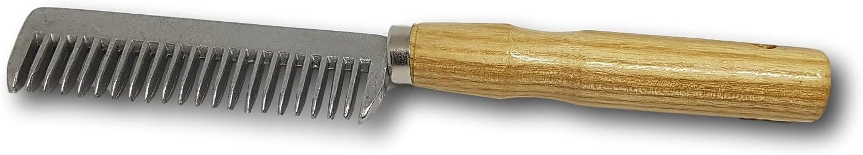 Peine para crines de caballo o burro, de metal, con mango resistente de madera