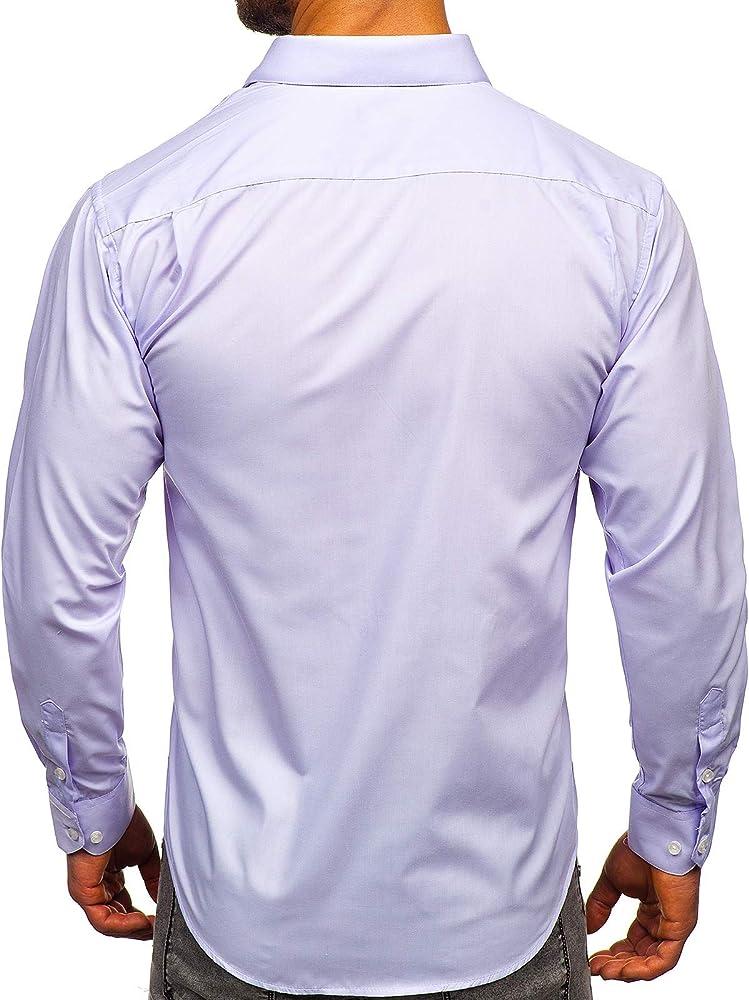 BOLF Camisa Elegante de Rayas de Manga Larga para Hombre LAVIINO 0003 Violet(Claro) S [2B2]: Amazon.es: Ropa y accesorios