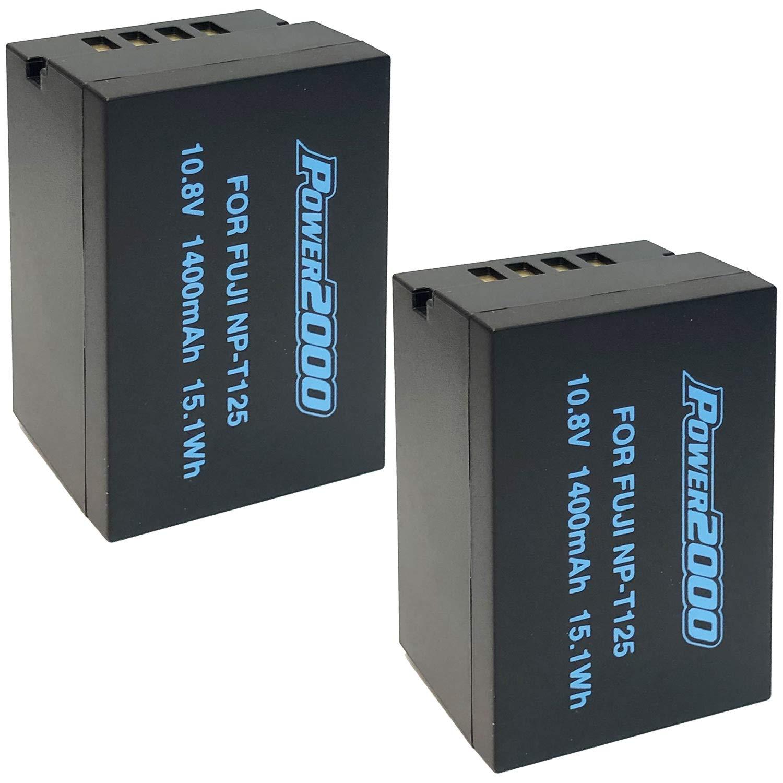 Power2000 2 Pack of NP-T125 Batteries for Fujifilm GFX 50S, GFX50S, GFX 50R, GFX50R, GFX 100, GFX100 Cameras and Fujifilm VG-GFX1 Battery Grip by BM Premium