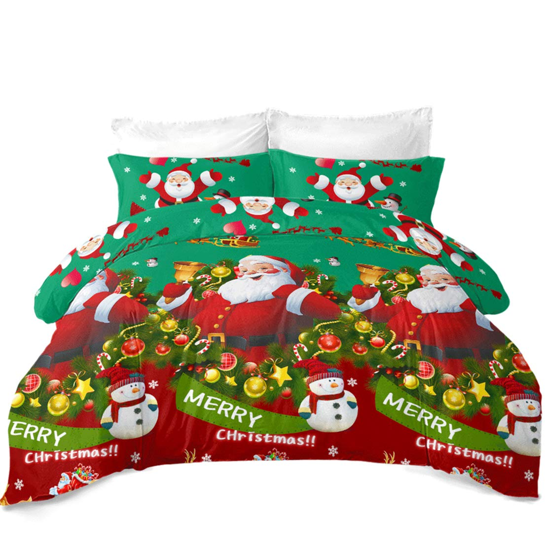 JARSON 4Pcs 3D Green Christmas Bedding Set King Size,Cartoon Santa Claus Duvet Cover Set Kids Festival Bedding for New Year Decoration by JARSON