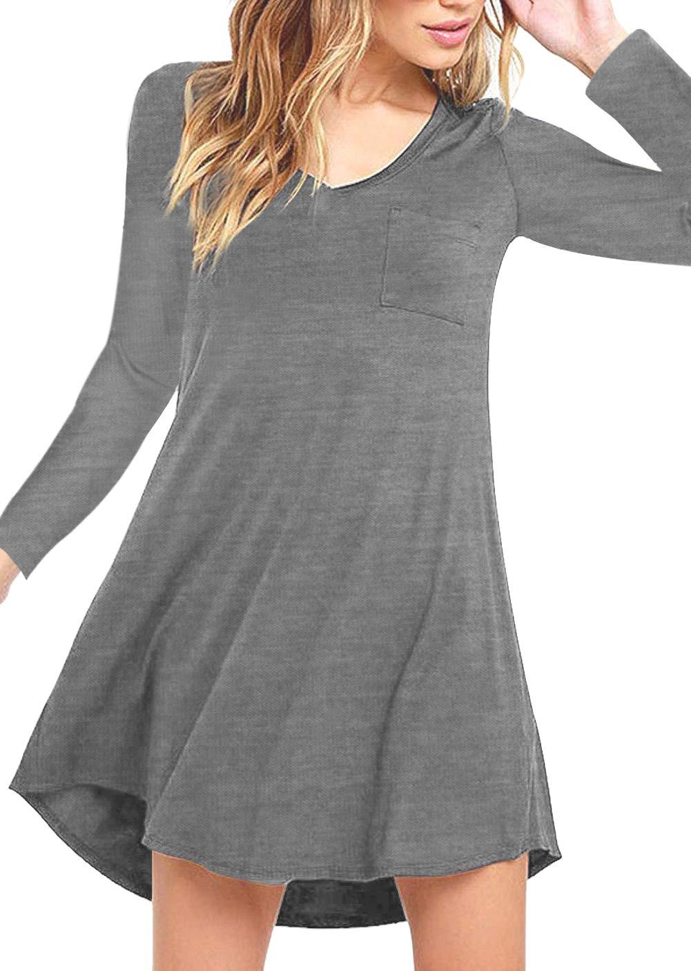 Eanklosco Womens Casual Short Sleeve Plain Pocket V Neck T Shirt Tunic Dress (Grey-1, M)