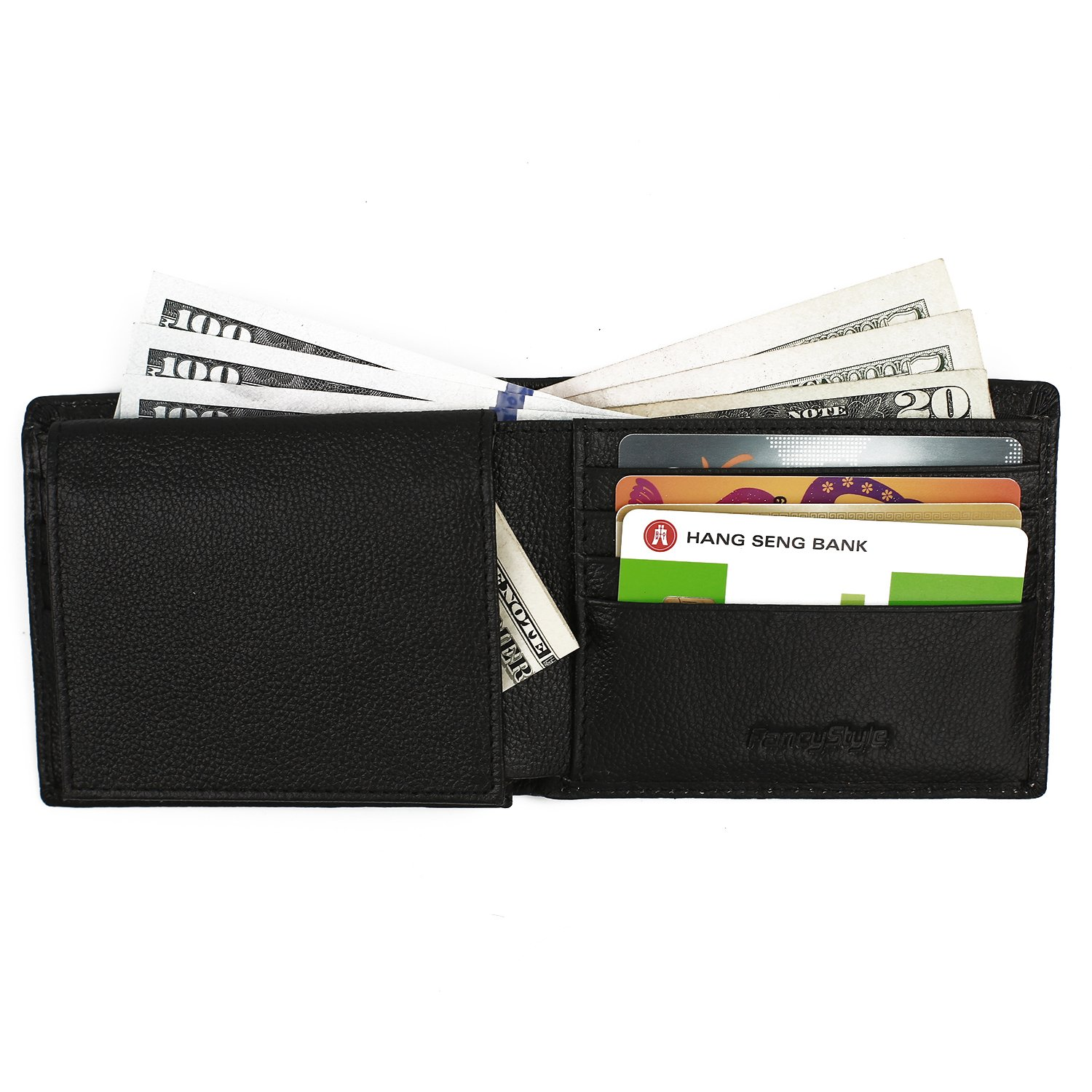 RFID Wallet for Men with Flip-up ID Window Slim Leather 10 Card Slots Black