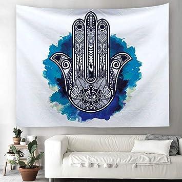Hamsa Mano tapiz hippie bohemio pared adornos pared toalla pared de tapiz mantel Toalla de playa 150 x 150 cm Blanco: Amazon.es: Hogar