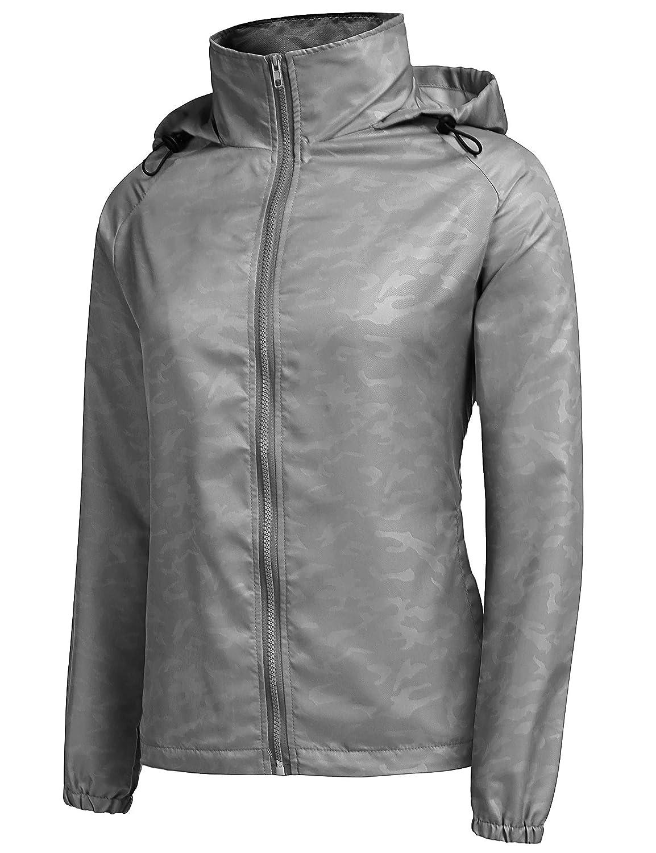 URRU Womens Lightweight Hooded Raincoat Waterproof Packable Active Outdoor Rain Jacket S-XXL