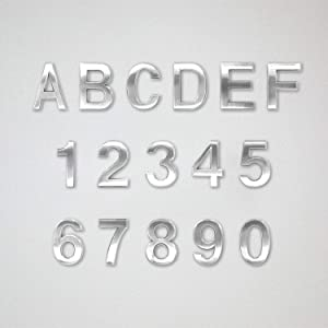 """Koopro 16 Pieces 2.75"""" Self Adhesive Numbers, 0 to 9 Plus A to F, Door Numbers Stickers for Apartment Home Office Room Hotel Waterproof Mailbox Residence Street Address Signs Labels Plaques (Silver)"""