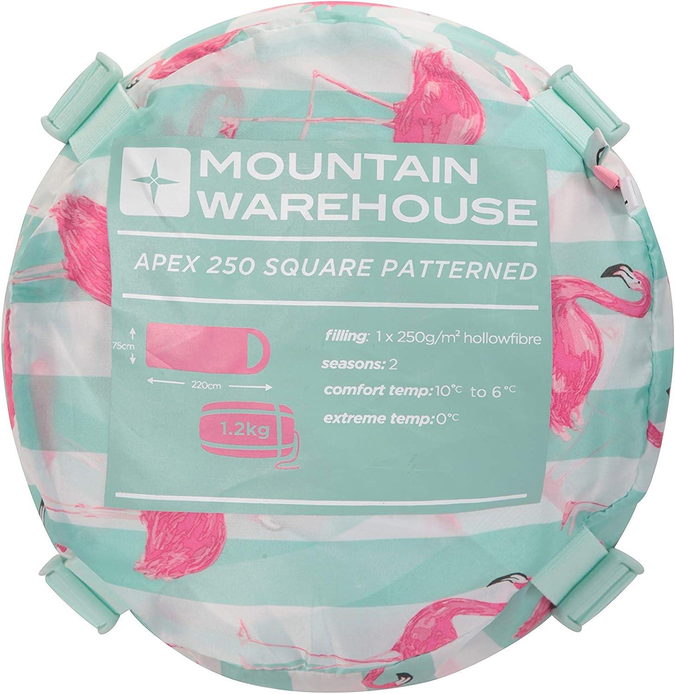 pour lext/érieur Isolant Mountain Warehouse Sac de Couchage Apex Mini /à Motifs pour Enfant Id/éal pour Le Camping en Fibre Creuse l/éger