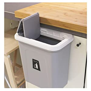KARYHOME Hanging Trash Can,Small Cabinet Kitchen Trash Can, Garbage Can for Kitchen Cupboard with Automatic Return Lid,Grey