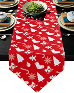 Cloud Dream Home Merry Christmas Themed on Red Background Table Runner for Morden Greenery Garden Wedding Party Table Setting Decorations 16 x 72 Inches