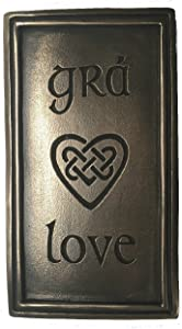 Wild Goose Studios Irish Plaque Love and Gra Celtic Heart Resin Cast Coated in Bronze 5 1/2 Inches Tall by 3 Inches Wide Wall Decor Ready To Hang Made in Ireland