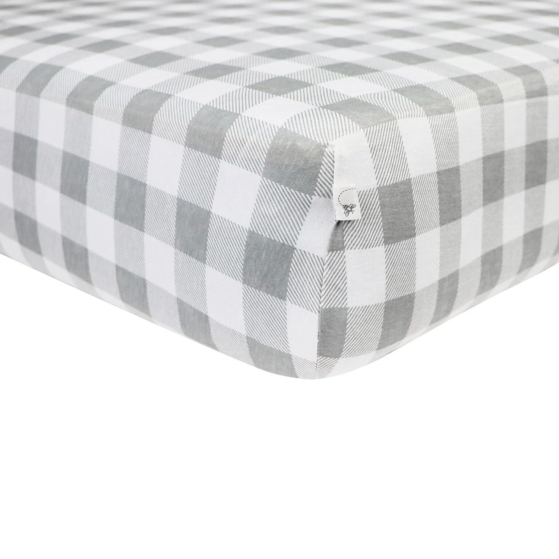 Burt's Bees Baby - Buffalo Check Fitted Crib Sheet, 100% Organic for Standard Crib and Toddler Mattresses (Fog) Burt's Bees Baby HM10233-FOG-CB
