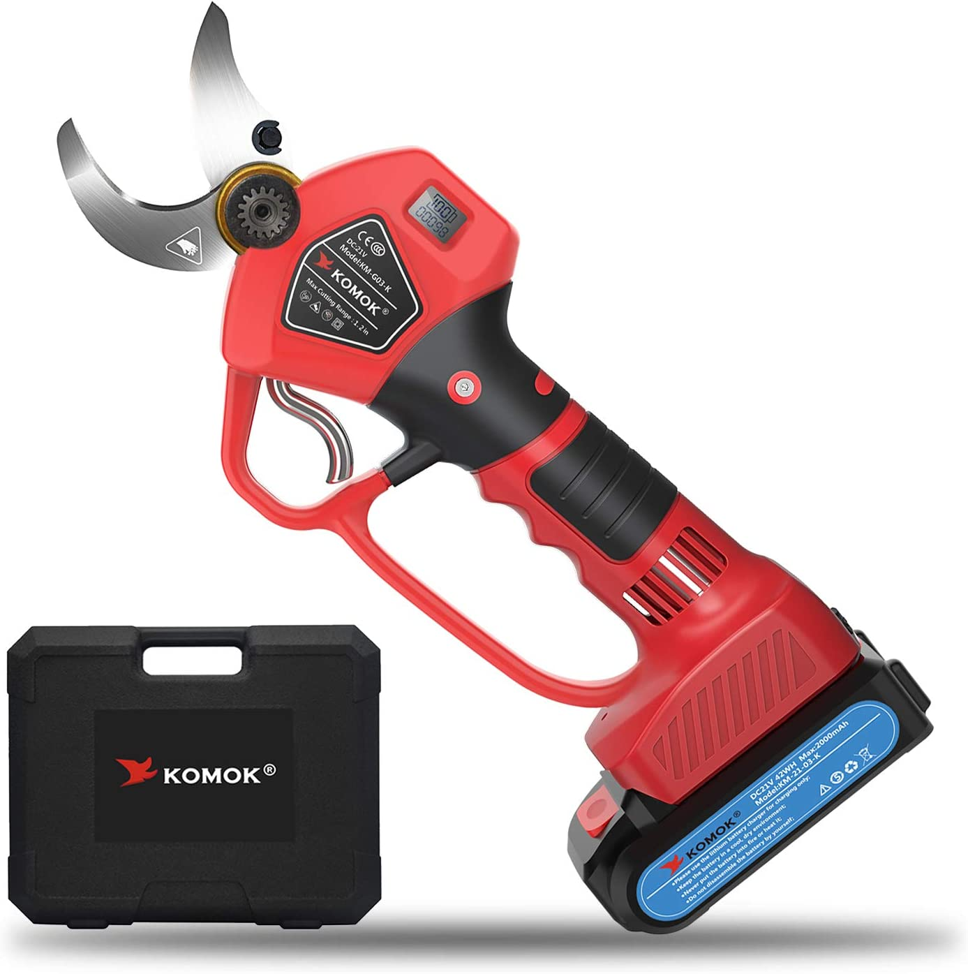 KOMOK Professional Cordless Electric Pruning Shears Secateurs,Smart Garden Orchard Tools,2 Rechargeble 2000mAh Battery with Handguard & Power Display 30MM/1.2Inch Red