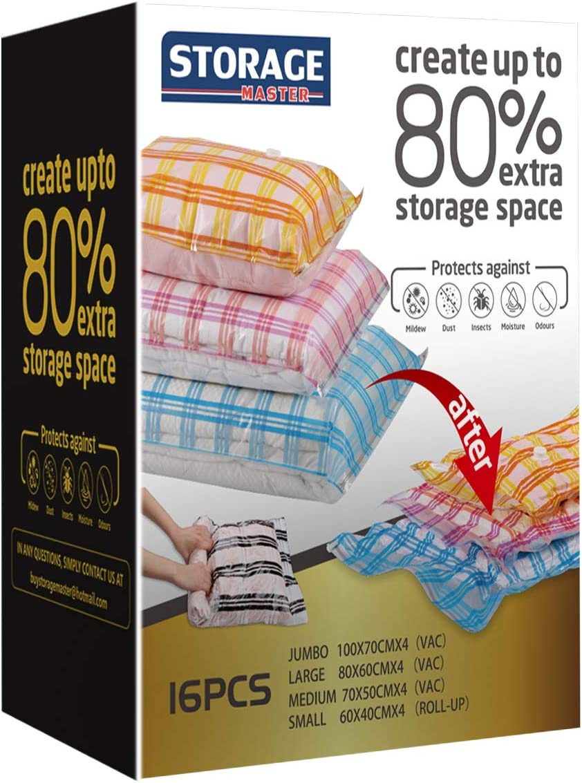 Storage Master 16 Vacuum Storage Bags, Space Saver Bags, 16-Pack (4 Jumbo, 4 Large, 4 Medium, 4 Roll-Up) with Hand Pump (16-Combo)