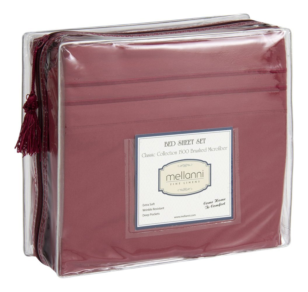 Mellanni Bed Sheets Bedding Set, Highest Quality Brushed Microfiber 1500 Collection Queen, Burgundy