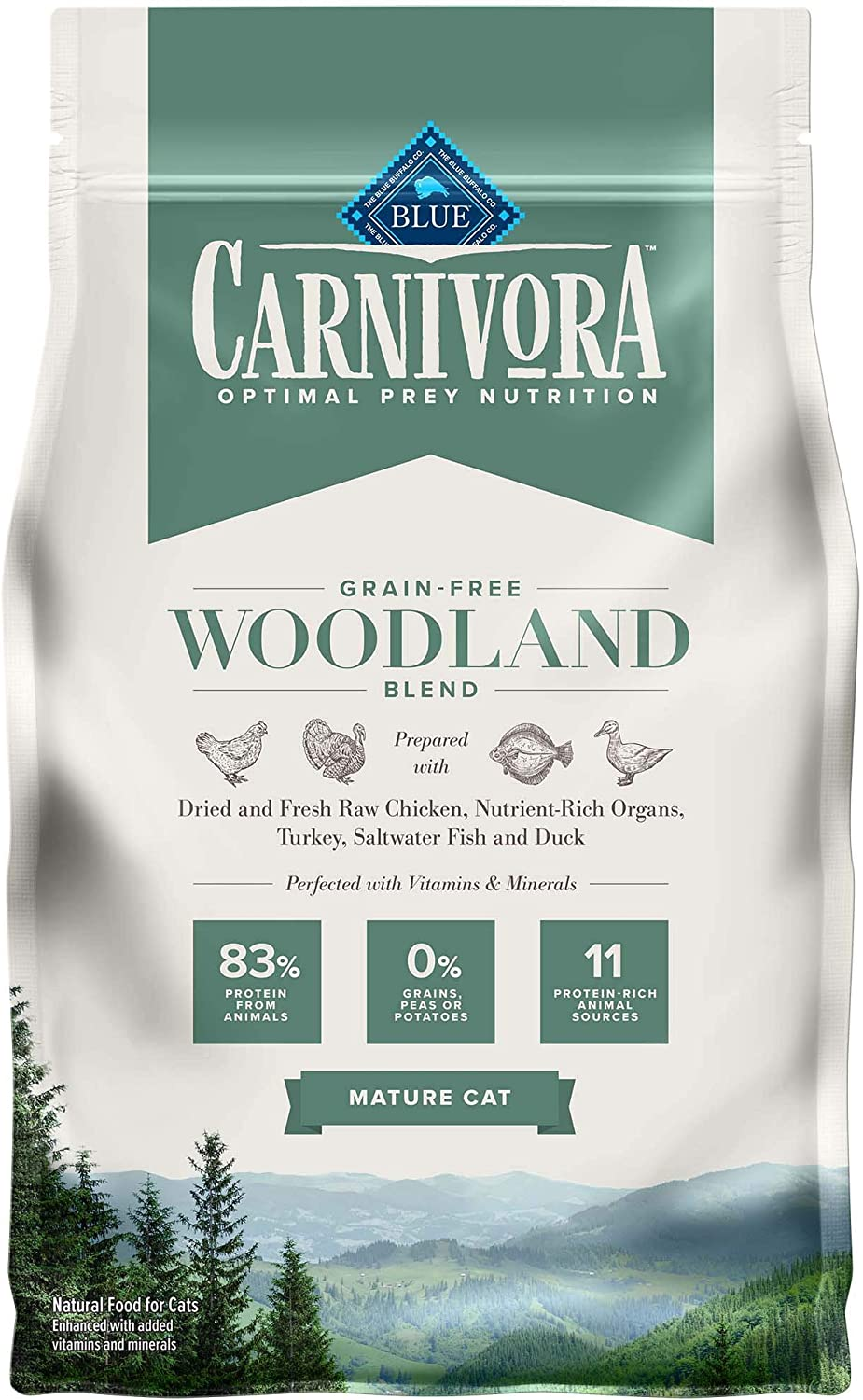 Blue Buffalo Carnivora Optimal Prey Nutrition High Protein, Grain Free Natural Mature Dry Cat Food, Woodland Blend 4lb