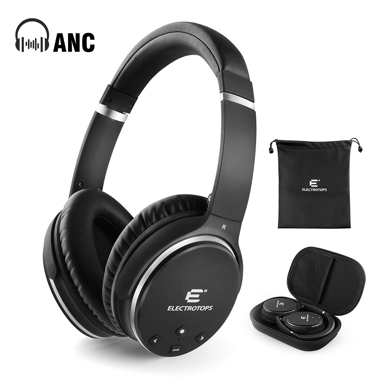 Active Noise Cancelling Bluetooth Headphones, Over-Ear Hi-Fi Deep Bass Wireless Headphones with Microphone, 90°Swiveling Earcups Adjust Headband Soft Earpads Earmuff for Travel Work TV Computer Phone