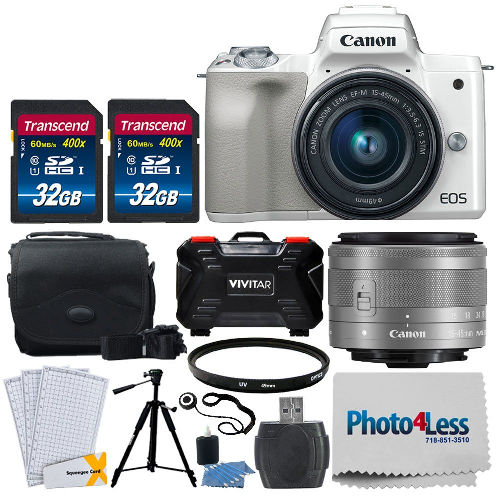 Canon EOS M50 Mirrorless Digital Camera (White) + EF-M 15-45mm f/3.5-6.3 is STM Lens (Silver) + 64GB Memory Card + Camera/Camcorder Bag + Quality Tripod + UV Filter + USB Card Reader + Accessories by Photo4Less