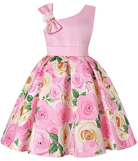 58c34dcedfd Image Unavailable. Image not available for. Color  Baby Girls Flower  Striped Dress for Girls Formal Wedding Party Dresses Kids Princess ...