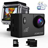 Sports Camera, SOOCOO C30 Action Camera 4K 20MP 2.0 Inch Waterproof Diving Camera with 2 Batteries and Accessories Kit Included - Wifi (Micro SD Card Included) …