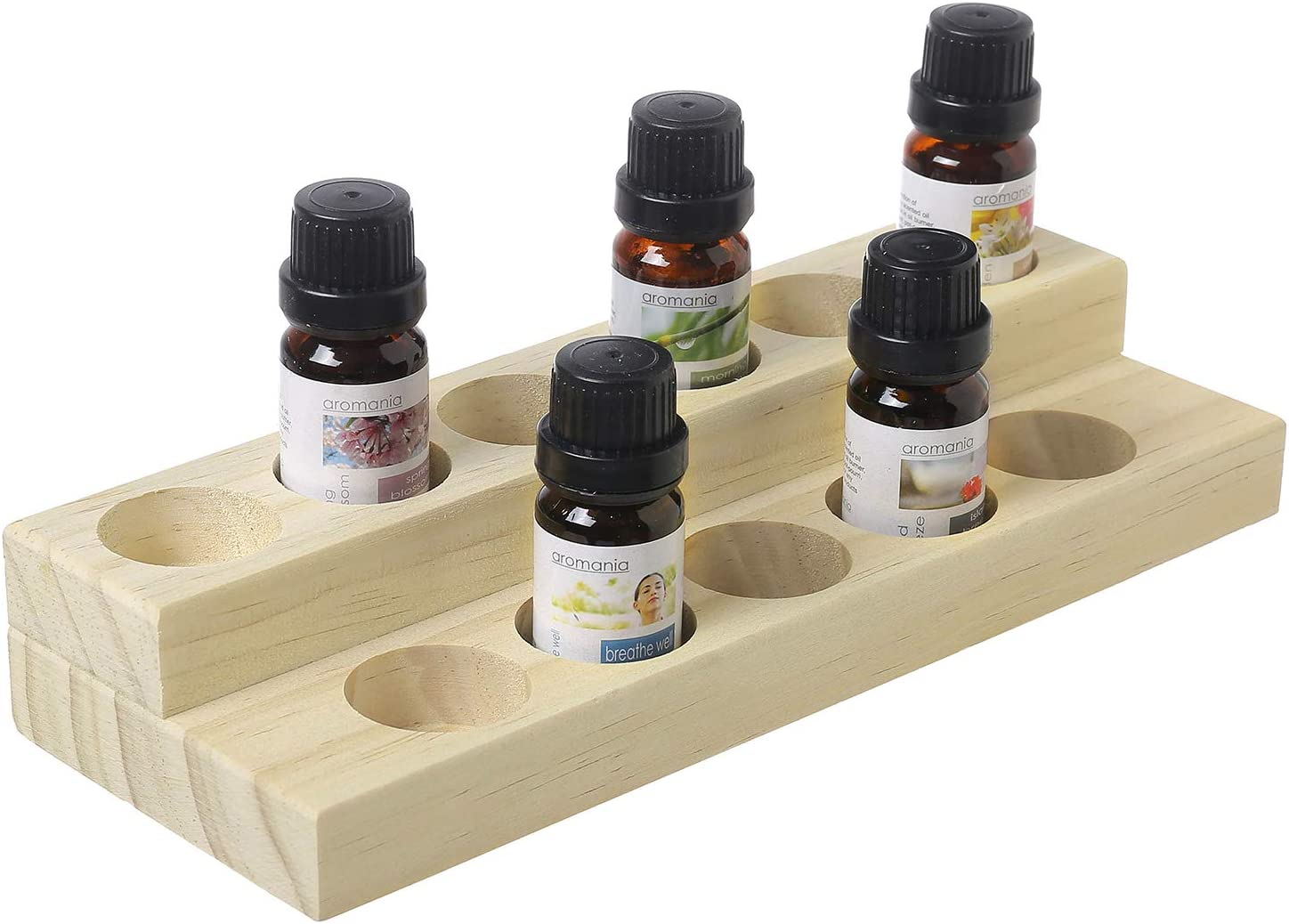 MyGift 2-Tier Natural Wood Essential Oil Display Stand, Cosmetic Organizer Rack – Holds up to 11 20ml Bottles