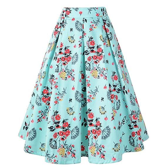 Alda Estampada Larga Mujer Elegante Vintage/💖QIjinlook💖/Faldas ...