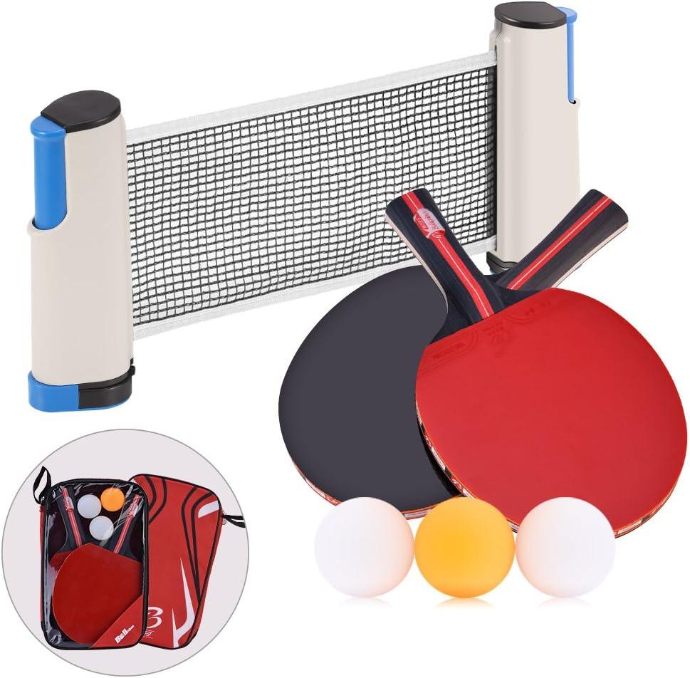 Juego de Ping Pong Tenis de Mesa - 2 Palas + 1 Red Retráctil + 3 ...