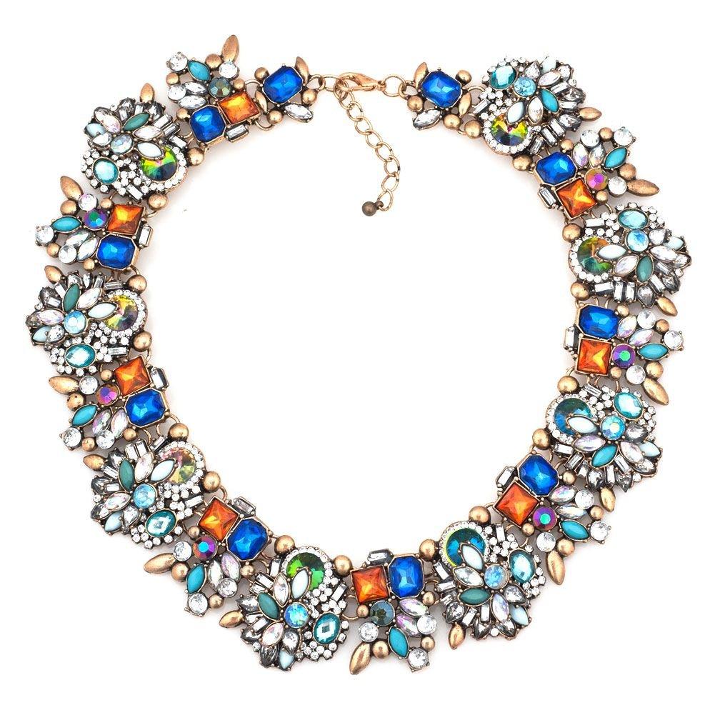 DemiJewelry Vintage Multi-Color Glass Collar Choker Bib Statement Necklace