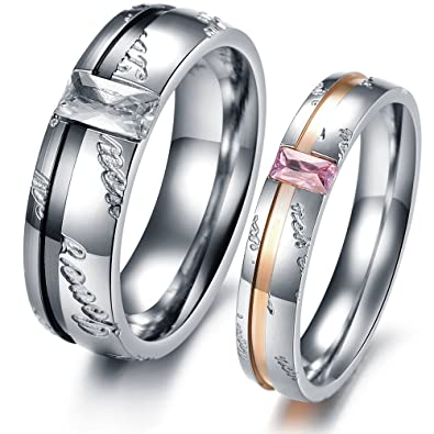 """Love You"""" Carved Couple Ring Black & Rose Gold Plated Stainless"""