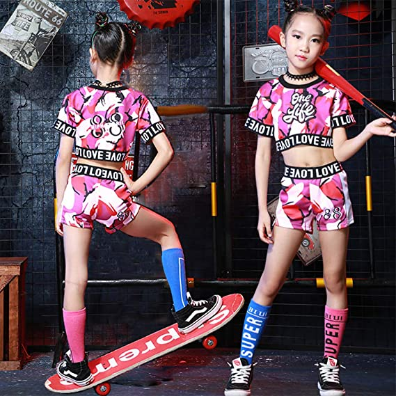 Girls Tracksuits Clothes Outwear Jumper Hip Hop Streetwear Shirts and Trousers Kids Crop Tops /& Pants