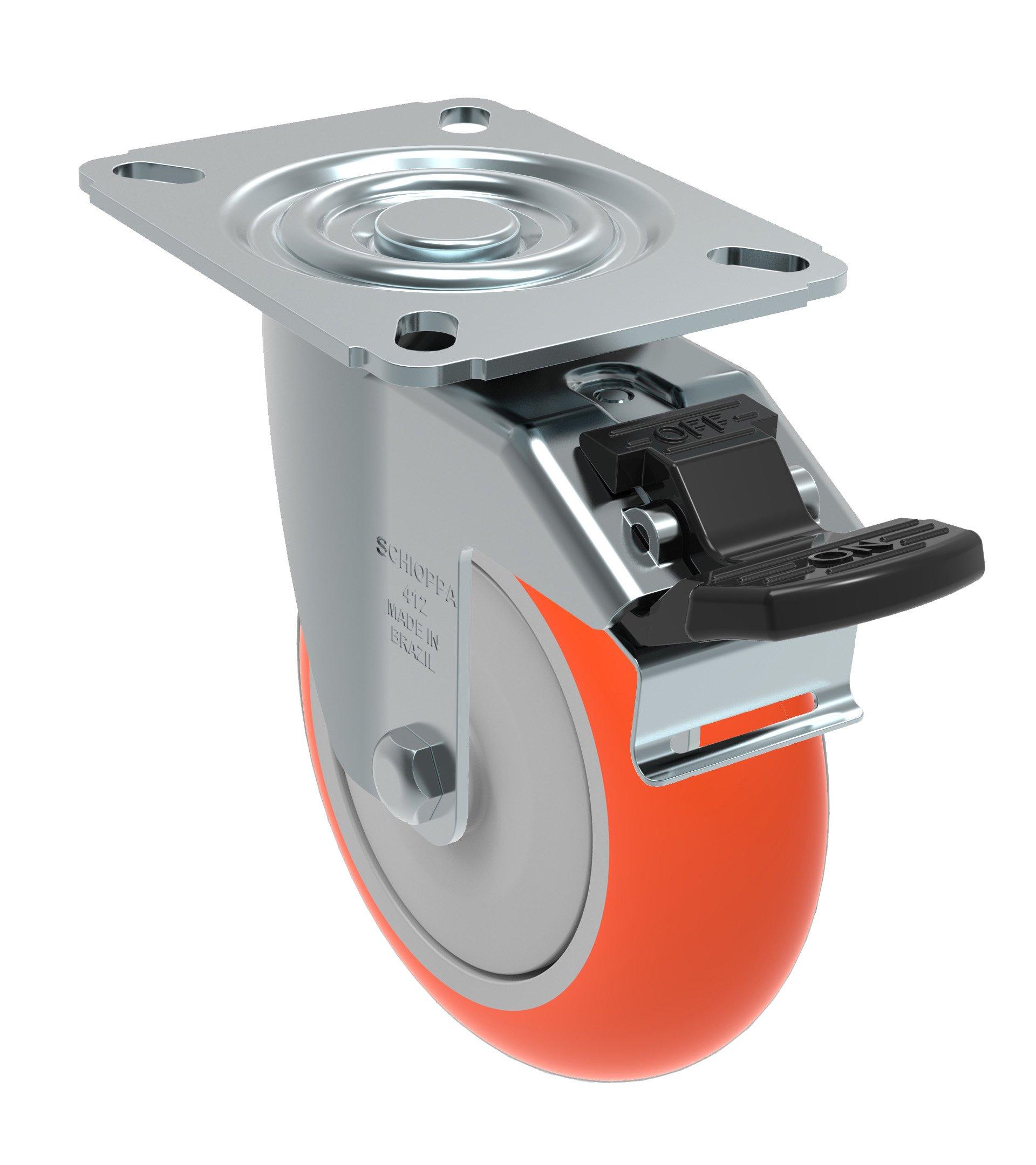 Schioppa GL 412 UPE G L12 Series 4'' x 1-1/4 Diameter Swivel Caster with Total Lock Brake, Non-Marking Polyurethane Precision Ball Bearing Wheel, Plate 3-1/8 x 4-1/8 (Bolt Holes 3-1/8 x 2-1/4), 275 lb