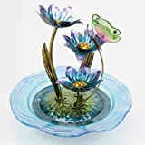 Bits and Pieces - Indoor/Outdoor Iridescent Glass Butterfly Fountain - Zen Tabletop Water Fountain