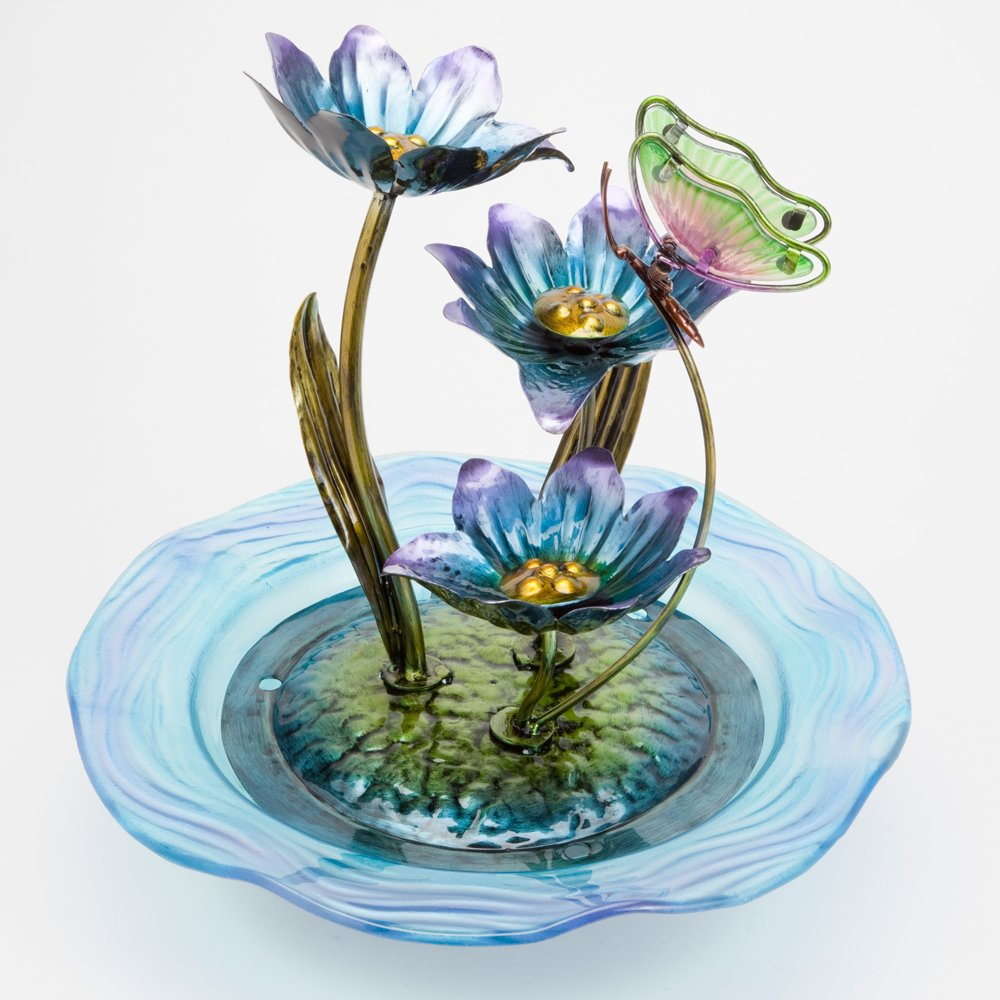 Bits and Pieces Indoor/Outdoor Iridescent Glass Butterfly Fountain - Zen Tabletop Water Fountain Melville Direct