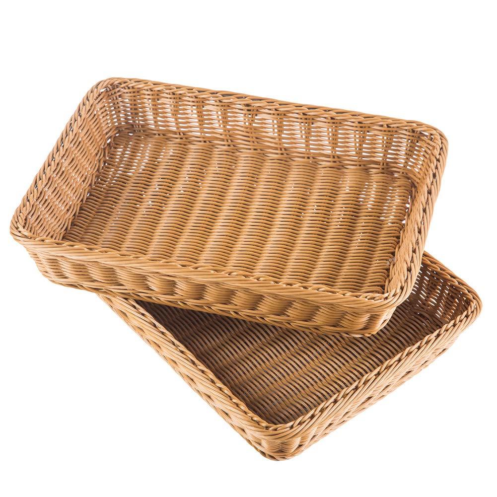 iFlower Woven Bread Basket Tabletop Food Fruit Vegetables Serving Basket Poly-Wicker (Square,2pcs)