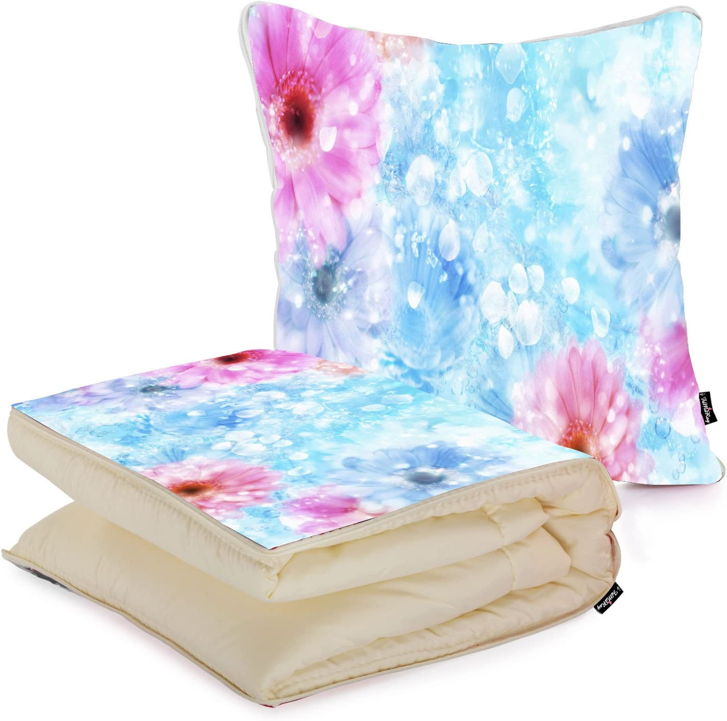 I Famuray Diy Bed Throw Pillow Travel Blanket Set Colorful