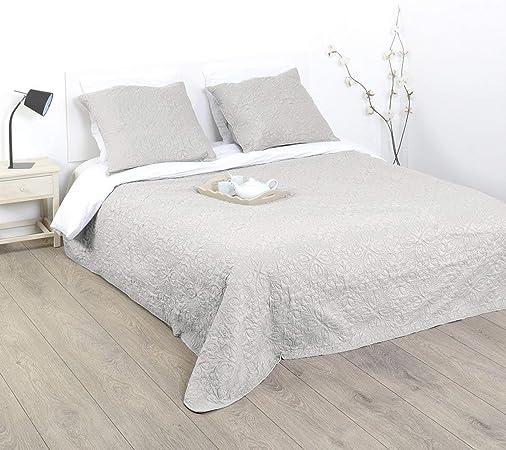 Couvre-lit D/écoration de Chambre,Entretien Facile Ensemble De Literie 3 Pi/èCes,Blanc,230 250cm Siunwdiy Couvre-lit matelass/é r/éversible avec 2 taies doreiller