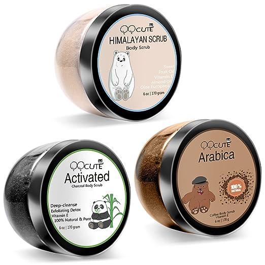 QQCute Himalayan Charcoal Coffee Body Scrub 3 in 1 set 18 oz with Essential Oil