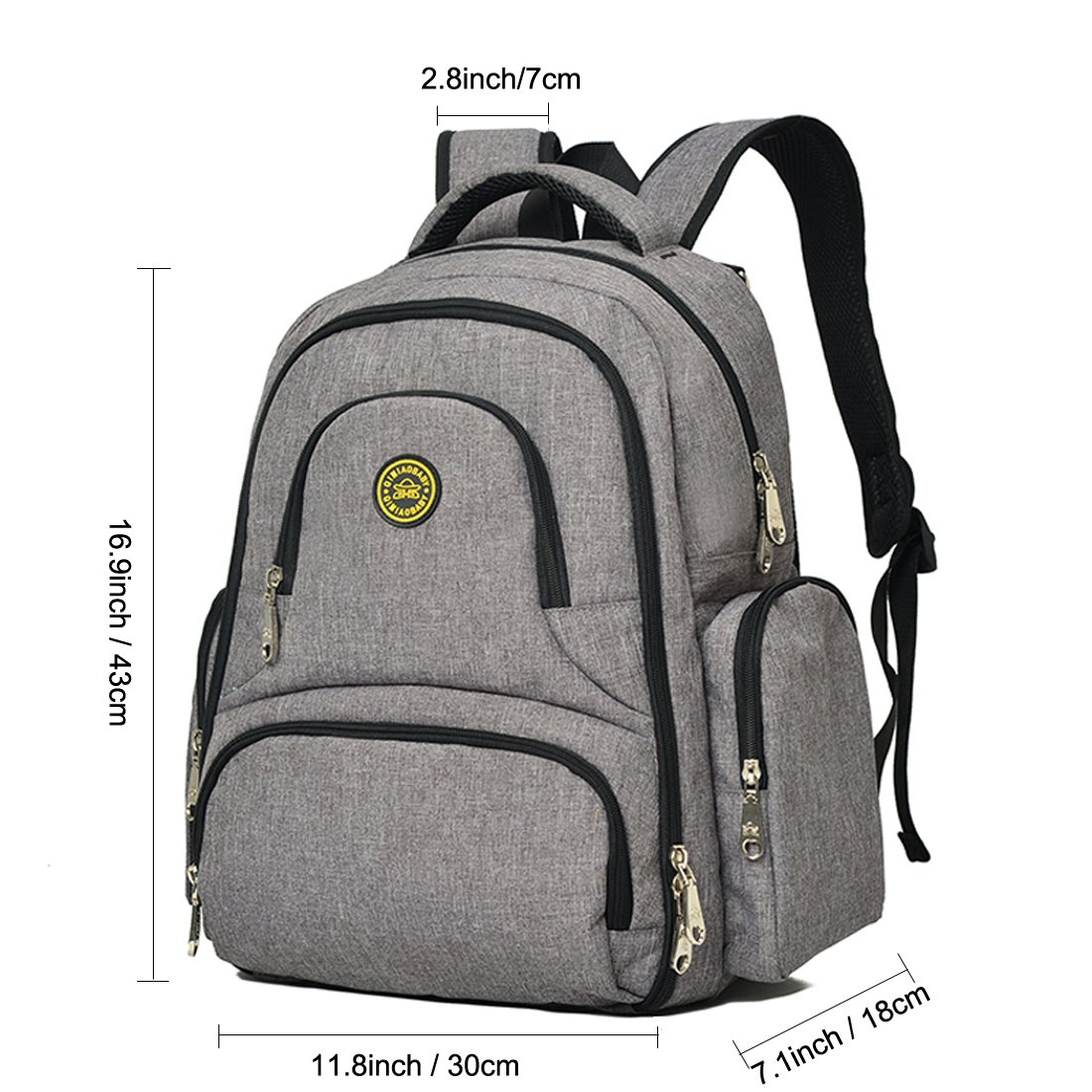 Lightweight 16 Pockets Water-resistant Backpack Diaper Bag with Insulated Bottle Pockets and Changing Mat Heather Grey Veewin