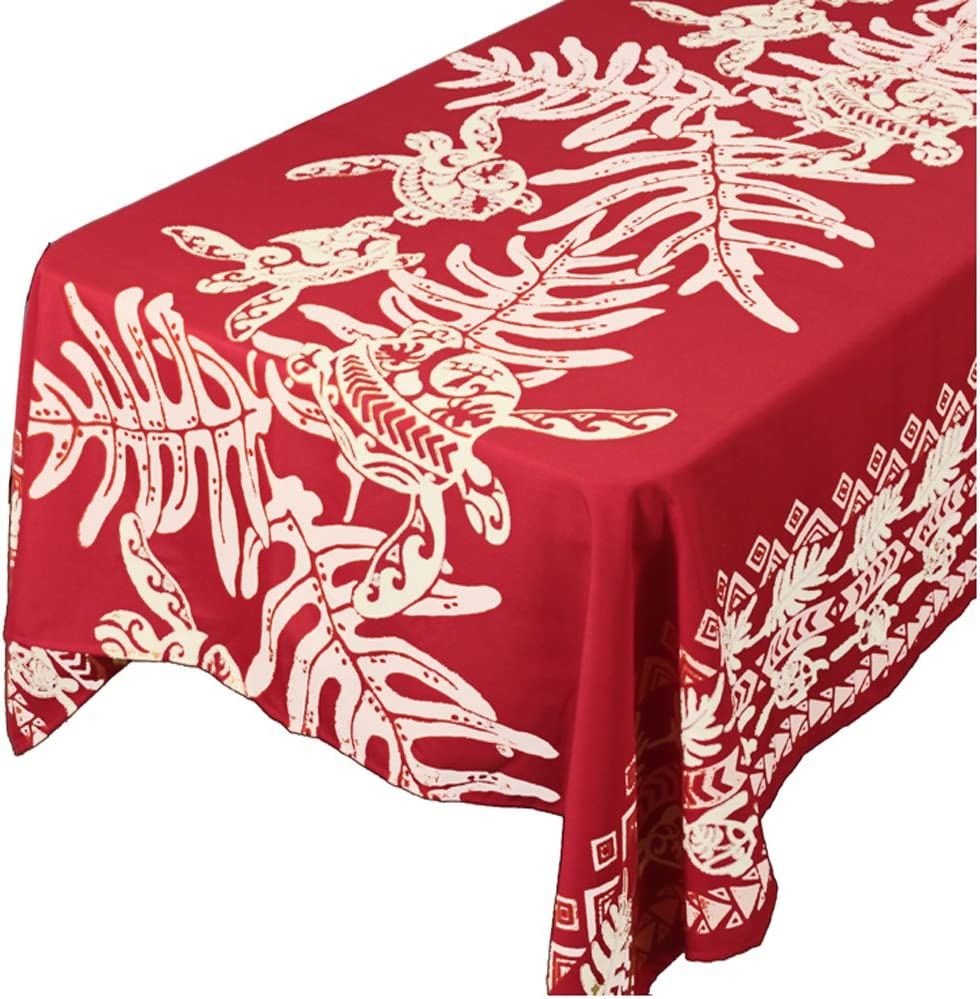 Amazon Com Hawaiian Tropical Fabric Tablecloth 60 Inch By 108 Inch Honu Turtle And Monstera Red Color Home Kitchen