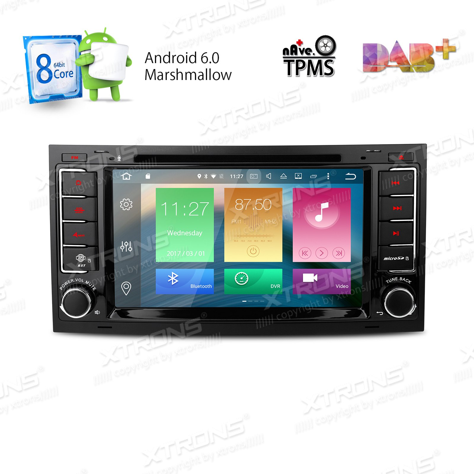 XTRONS Android 6.0 Octa-Core 64Bit 7 Inch Capacitive Touch Screen Car Stereo Radio DVD Player GPS CANbus Screen Mirroring Function OBD2 Tire Pressure Monitoring for Volkswagen VW Touareg 2004-2011